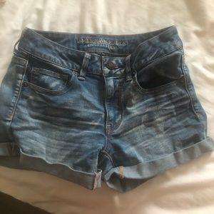 AE cuffed medium wash jean shorts